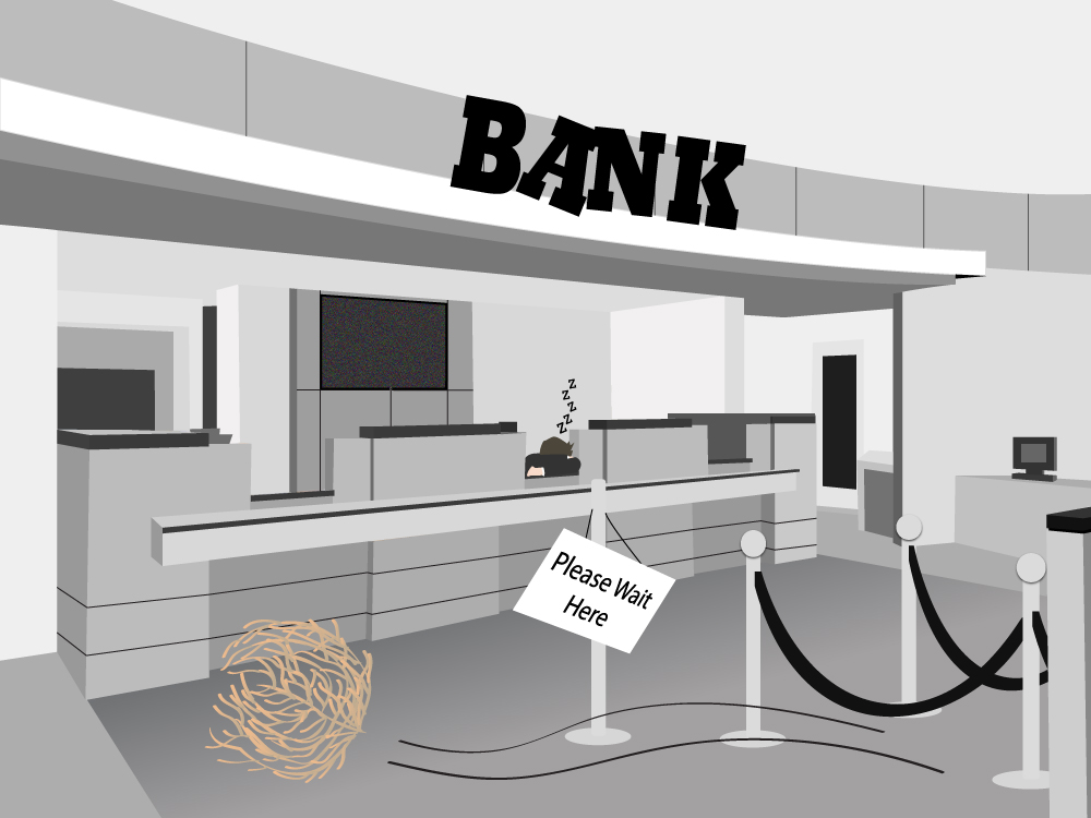 Empty bank branches and the reasons why