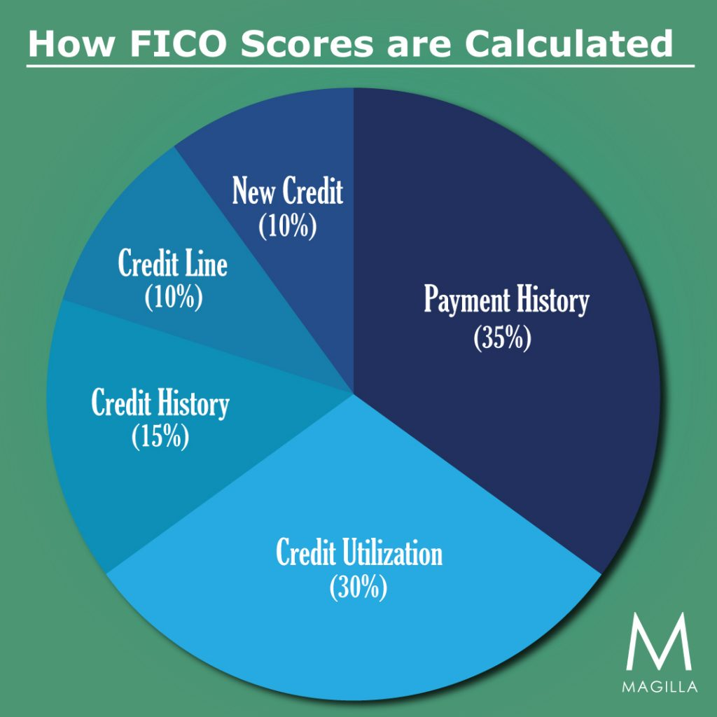 What does a FICO score consist of? Magilla's chart breaks it down.